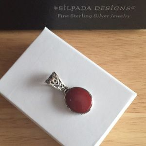 SILPADA Red Stone in SS Filigree Setting Pendant